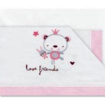 Triptic Llençols Cuna Love Friends Blanc Rosa Pirulos